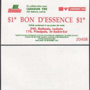Bonus $1.00 Gas Voucher  -  UNC - Sonic Lachute