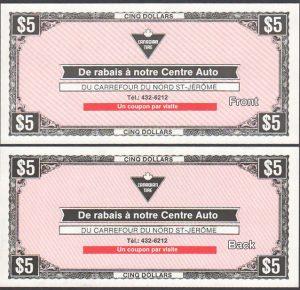 CTC St. Jerome Auto Centre $5.00 - UNC
