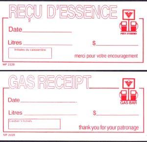Gas Bar Receipt - Bilingual  -  UNC