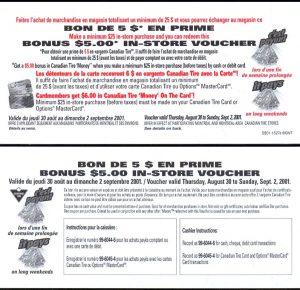 Bonus $5.00 in CTC money - Sept. 2001 - UNC