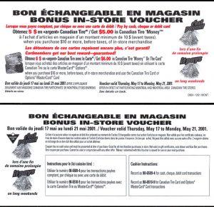 Bonus $5.00 in CTC money - May 2001 - UNC